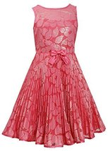 Big-Girls Tween Coral Illusion Floral Lace Sunburst Crystal Pleat Dress, CR4M...