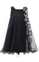 Little Girls 4-6X Black White Flock Dot Mesh Colorblock Trapeze Dress, Bonnie...
