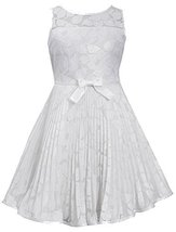 Little-Girls Ivory Illusion Floral Lace Sunburst Crystal Pleat Dress, IO3BU, ...