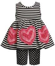 Bonnie Baby Girls' Stripe Legging Set, Black, 24 Months [Apparel] image 1