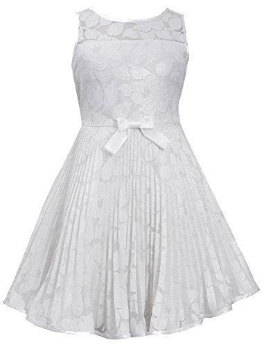 Little-Girls Ivory Illusion Floral Lace Sunburst Crystal Pleat Dress, IO3NA, ...