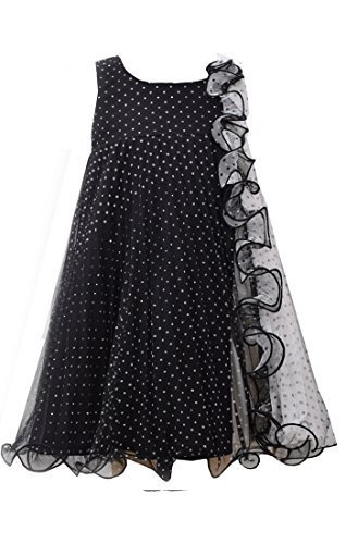 Big Girls Tween Black White Flock Dot Mesh Colorblock Trapeze Dress, Bonnie J...