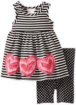 Bonnie Baby Girls' Stripe Legging Set, Black, 24 Months [Apparel] image 2