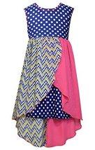 Big Girls Tween Royal-Blue Dots Stripes Solid Chiffon High Low Dress, Bonnie ...