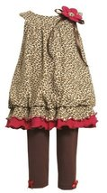 Bonnie Baby Baby-Girls Infant Leopard Print Bubble Top With Legging, Brown, 1...