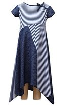 Little Girls Blue/White Stripes and Solid Panel Hanky Hem Maxi Dress, BU3BU, ...