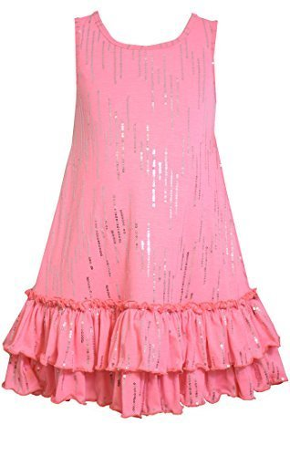 Little-Girls Pink Sequin Tier Ruffle Hem A-Line Knit Tank Dress, pink, 6, Bon...