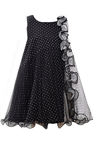 Little Girls 2T-4T Black White Flock Dot Mesh Colorblock Trapeze Dress, Bonni...