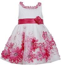 Little Girls 2T-6X Fuchsia-Pink Sequin Soutache Mesh Overlay Dress (4T, Fuchsia) image 1
