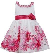 Little Girls 2T-6X Fuchsia-Pink Sequin Soutache Mesh Overlay Dress (4T, Fuchsia) image 2