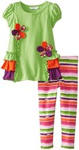Bonnie Jean Baby Girls 3M-24M Floral Ruffle Legging Set (3-6 Months, Green)