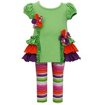 Bonnie Jean Baby Girls 3M-24M Floral Ruffle Legging Set (12 Months, Green)