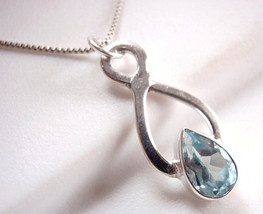 Faceted Blue Topaz Necklace Sterling Silver Infinity Hoop Means Endless ... - $20.23