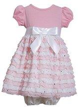 Baby Girls NEWBORN Pink White Spangle Eyelash Ruffles Dress, Pink,6-9 Months,... image 1