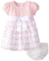 Baby Girls NEWBORN Pink White Spangle Eyelash Ruffles Dress, Pink,6-9 Months,... image 2