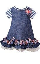 Little Girls Blue Chambray Tier Scallop Hem A-Line Knit Dress, BU2BU, Blue, B...