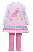 Baby Girls Pink 3-Piece Love Birds Fleece Jumper Dress/Legging set, NBSA-W0-B...