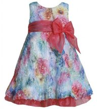 Bonnie Jean Girls 2-6X Printed Floral Bonaz Flare FU3SP, Fuchsia [Apparel]
