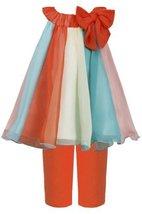 Orange Multi Colorblock Chiffon Trapeze Dress/Legging Set OR2BU, Orange, Bonn...
