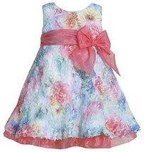 Fuchsia Blue Multi Die Cut Floral Print Mesh Overlay Dress FU1MT, Fuchsia, Bo... - $39.50