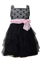 Big Girls Tween 7-16 Black/Pink Lace To Cascade Mesh Social Party Dress, Bonn...