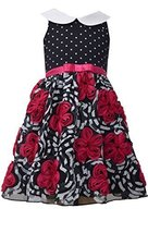 Little Girls 4-6X Fuchsia/Black Dots to Floral Bonaz Fit and Flare Dress (5, ... image 2