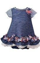 Baby Girls Newborn Blue Chambray Tier Scallop Hem A-Line Knit Dress, BU0SA, B...