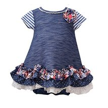 Baby Girls Newborn Blue Ruffle Scallop Hem Knit Dress Dress (3-6 Months, Blue)