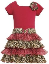 Bonnie Jean Girls 2-6X Knit Bodice To Drop Waist Tiered Dress, Fuschia, 2T image 1