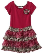 Bonnie Jean Girls 2-6X Knit Bodice To Drop Waist Tiered Dress, Fuschia, 2T image 2