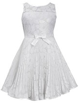 Little-Girls Ivory Illusion Floral Lace Sunburst Crystal Pleat Dress, IO3SA, ...