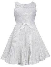 Little-Girls Ivory Illusion Floral Lace Sunburst Crystal Pleat Dress, IO3SP, ...