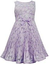 Little-Girls Lavender Illusion Floral Lace Sunburst Crystal Pleat Dress, LV3B...