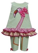 Little-Girls 2T-6X Green Pink Orange Flamingo Seersucker Top/Capri Pants Set,...