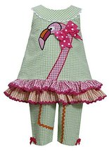 Little-Girls 2T-6X Green Pink Orange Flamingo Seersucker Top/Capri Pants Set,... - $27.62