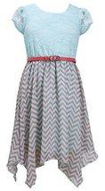 Little-Girls 2T-6X Lace to Chevron Stripe Print Chiffon Hanky Hem Dress, Bonnie.