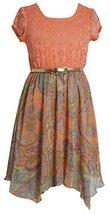 Little-Girls 2T-6X Lace to Paisley Print Chiffon Hanky Hem Dress, Bonnie Jean...