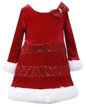 Bonnie Baby Baby-Girls Infant 12M-24M Tier Sequin Glitter Velvet Santa Dress,...