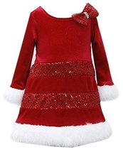 Bonnie Baby Baby-Girls Infant 12M-24M Tier Sequin Glitter Velvet Santa Dress,...
