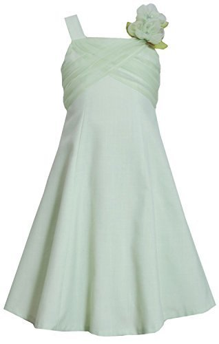 Big-Girls Tween 7-16 Green Criss Cross Flower Shoulder Fit-N-Flare Dress, 14,...