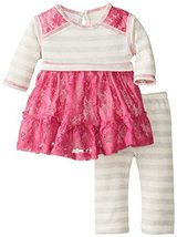 Bonnie Baby Baby-Girls Newborn Lace and Stripe Legging Set, Grey, 3-6 Months