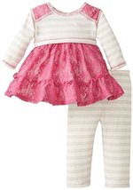 Bonnie Baby Baby-Girls Newborn Lace and Stripe Legging Set, Grey, 6-9 Months