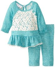 Bonnie Baby Baby-Girls Newborn Raglan Terry Knit Legging Set, Turquoise, 6-9 ...