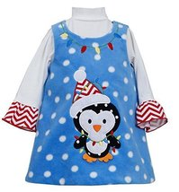 Bonnie Jean Little-Girls 2T-6X Penguin Dotted Fleece Jumper Dress (3T, Turquo...