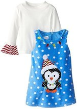 Bonnie Jean Little-Girls 2T-6X Penguin Dotted Fleece Jumper Dress (4, Turquoise)