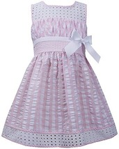 Little Girls 2T-6X Pink White Twin Check Eyelet Trim Seersucker Dress (2T, Pink)