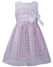 Little Girls 2T-6X Pink White Twin Check Eyelet Trim Seersucker Dress (2T, Pink) image 2