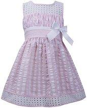 Little Girls 2T-6X Pink White Twin Check Eyelet Trim Seersucker Dress (3T, Pink) image 1