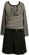 Bonnie Jean Little Girls' Stripe Knit Bodice To Black Skirt,Grey,4 [Apparel]