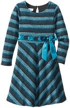 Bonnie Jean Little Girls 2T-6X Long Sleeve Brushed Knit Dress (4, Teal) image 2